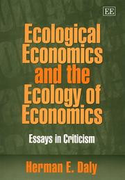 Cover of: Ecological economics and the ecology of economics