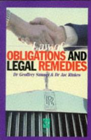 Cover of: Law of obligations and legal remedies