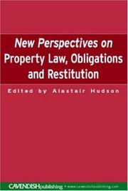 Cover of: New perspectives on property law, obligations, and restitution