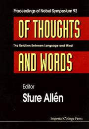 Cover of: Of Thoughts and Words