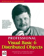 Cover of: Professional Visual Basic 6 Distributed Objects