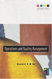 Cover of: Operations and Quality Management