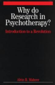 Cover of: Why Do Research in Psychotherapy?