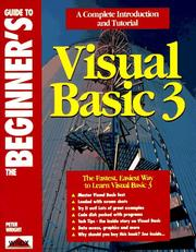 Cover of: The beginner's guide to Visual Basic 3