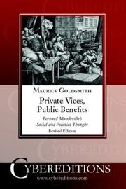Cover of: Private Vices, Public Benefits | Maurice Goldsmith