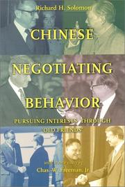 Cover of: Chinese negotiating behavior | Richard H. Solomon