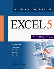 Cover of: A quick course in Excel 5 for Windows
