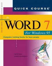 Quick Course in Word Seven for Windows Ninety Five by Joyce Cox, Christina Dudley