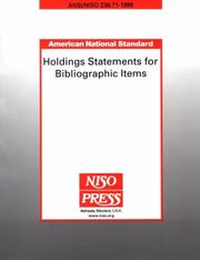 Holdings statements for bibliographic items by National Information Standards Organization (U.S.)
