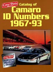 Cover of: Catalog of Camaro I.D. Numbers 1967-93 (Matching Number Series) | Cars & Parts Magazine