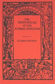 Cover of: The individual in the animal kingdom
