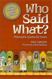 Cover of: Who said what?: philosophy quotes for teens