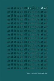 Cover of: As If It Is At All | Simon Cutts