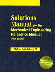 Cover of: Solutions Manual for the Mechanical Engineering Reference Manual
