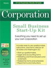 Cover of: Corporation: small business start-up kit