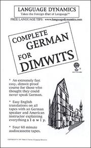Cover of: Complete German for Dimwits/6 Audiocassette Tapes/Complete Learning Guide and Tapescript |