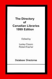 Cover of: The directory of Canadian libraries