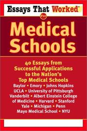 Cover of: Essays that worked for medical schools |