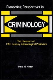 Cover of: Pioneering Perspectives in Criminology