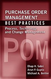 Cover of: Purchase order management best practices