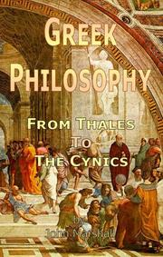 Cover of: GREEK PHILOSOPHY: From Thales to the Cynics