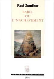 Cover of: Babel ou l'inachèvement