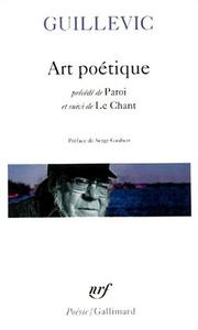 Cover of: Art poétique