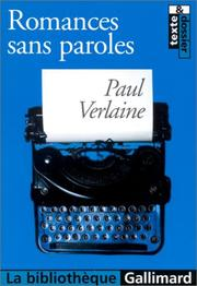 Romances sans paroles by Paul Verlaine