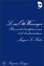 Cover of: Le Cas Otta Weininger (Perspectives critiques)