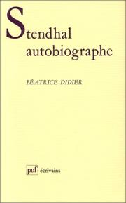 Cover of: Stendhal autobiographe