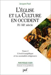 Cover of: L'église et la culture en Occident, IXe-XIIe siècles, tome 2