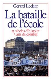 Cover of: La bataille de l'école
