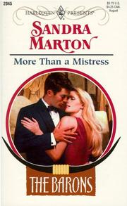 Cover of: MORE THAN A MISTRESS by Marton