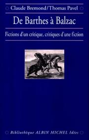 Cover of: De Barthes à Balzac