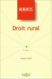Droit rural by Jacques Audier