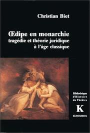 Cover of: Œdipe en monarchie