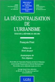 Cover of: La décentralisation de l'urbanisme