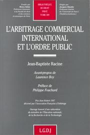 Cover of: L' arbitrage commercial international et l'ordre public