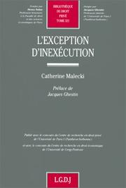 Cover of: L' exception d'inexécution