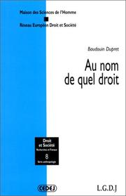 Cover of: Au nom de quel droit