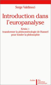 Cover of: Introduction dans l'europanalyse