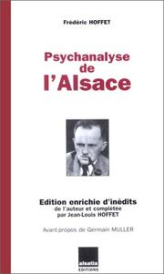 Cover of: Psychanalyse de l'Alsace