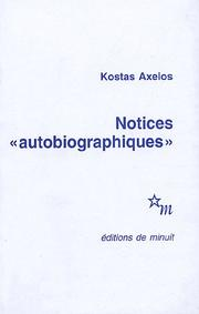 "Cover of: Notices ""autobiographiques"""