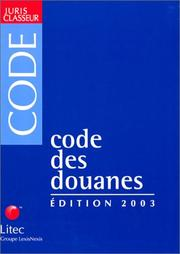 Cover of: Code des douanes