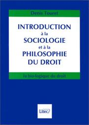 Cover of: Introduction à la sociologie et à la philosophie du droit