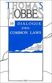 Cover of: Dialogue entre un philosophe et un légiste des common-laws d'Angleterre