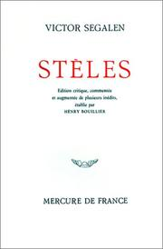 Cover of: Stèles