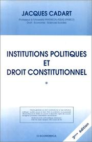 Cover of: Institutions politiques et droit constitutionnel
