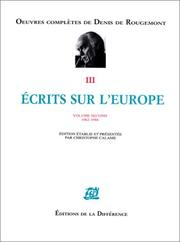 Cover of: Ecrits sur l'Europe