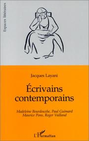 Cover of: Ecrivains contemporains | Jacques Layani